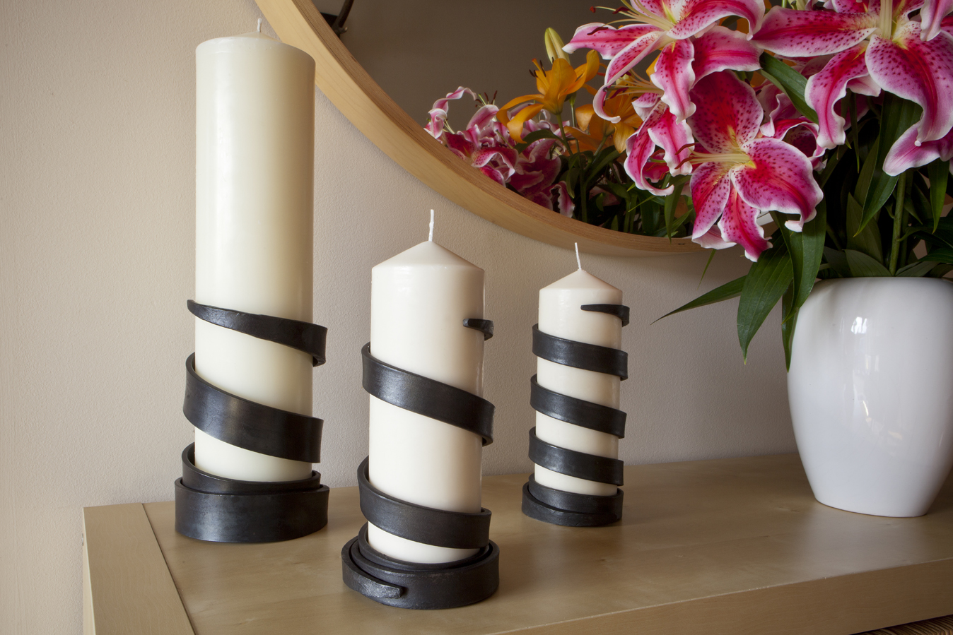 James Ritchie Steel Spiral Candle Holders